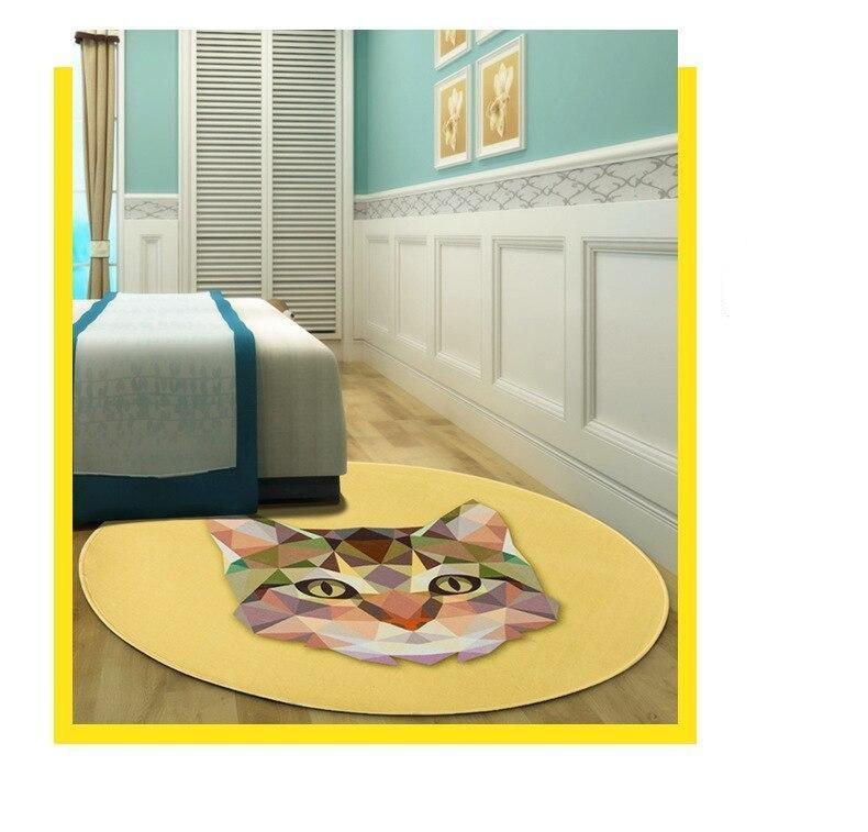 Runder Teppich <br> Geometrische Katze