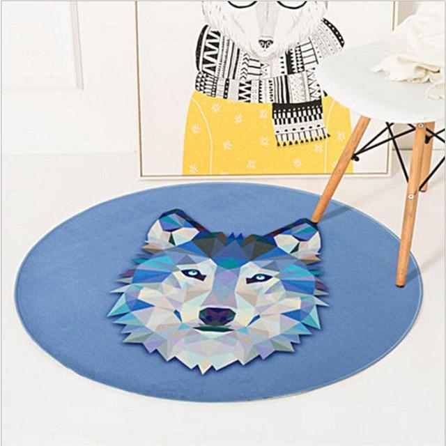 Runder Teppich <br> Geometrischer Wolf