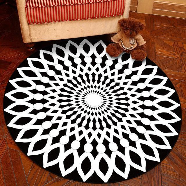 Runder Teppich <br> Geometrisches Muster