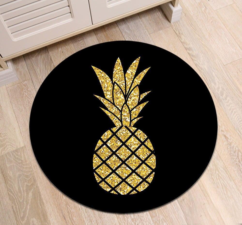 Runder Teppich <br> Goldene Ananas
