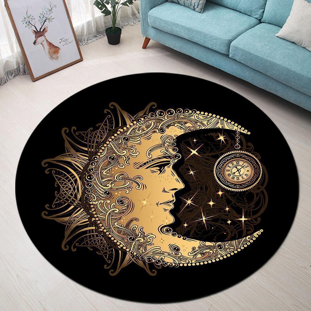 Runder Teppich <br> Goldener Mond