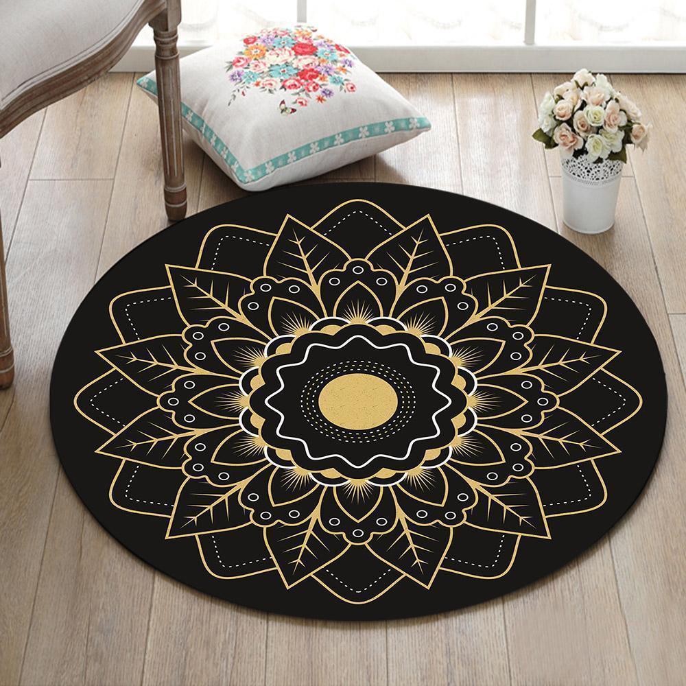 Runder Teppich <br> Goldenes Mandala