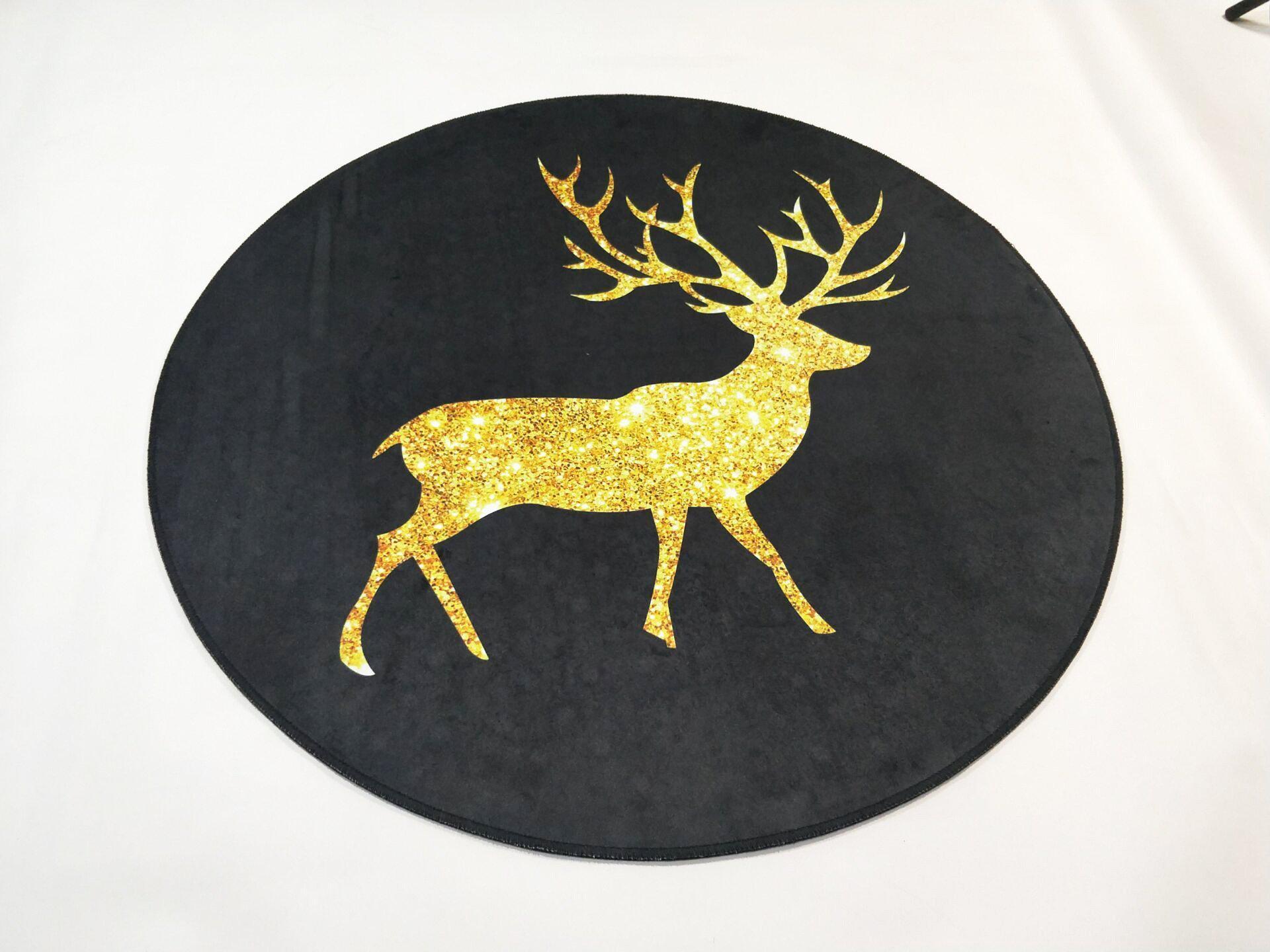 Runder Teppich <br> Goldfarbe