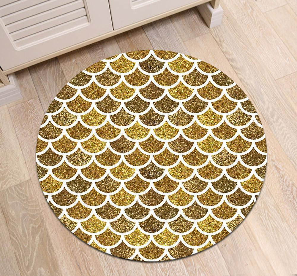 Runder Teppich <br> Goldfarbig