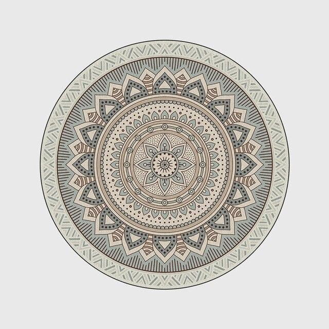 Runder Teppich <br> Graues Mandala