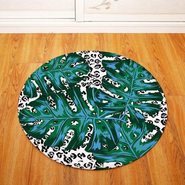 Runder Teppich <br> Großes Tropisches Blatt