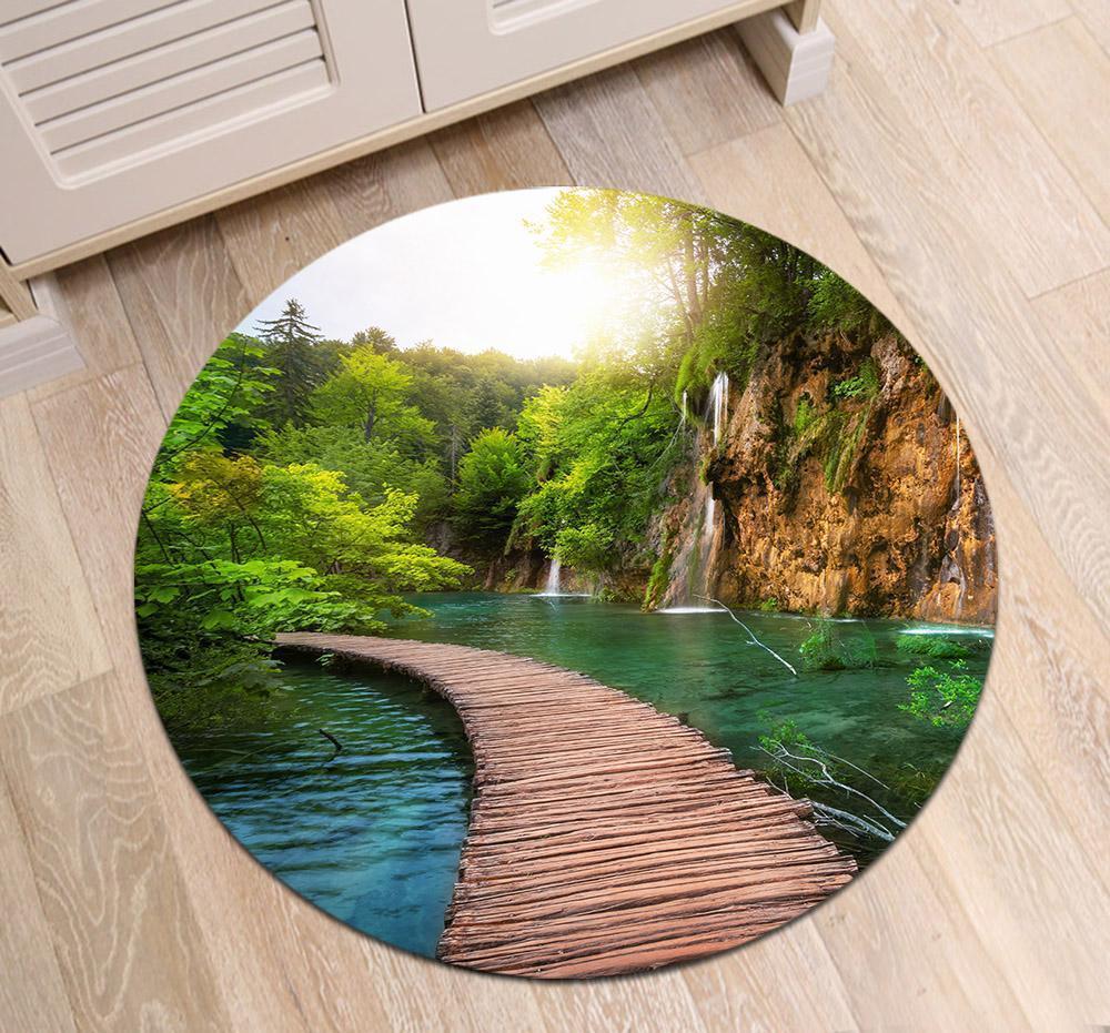 Runder Teppich <br> Grüne Landschaft