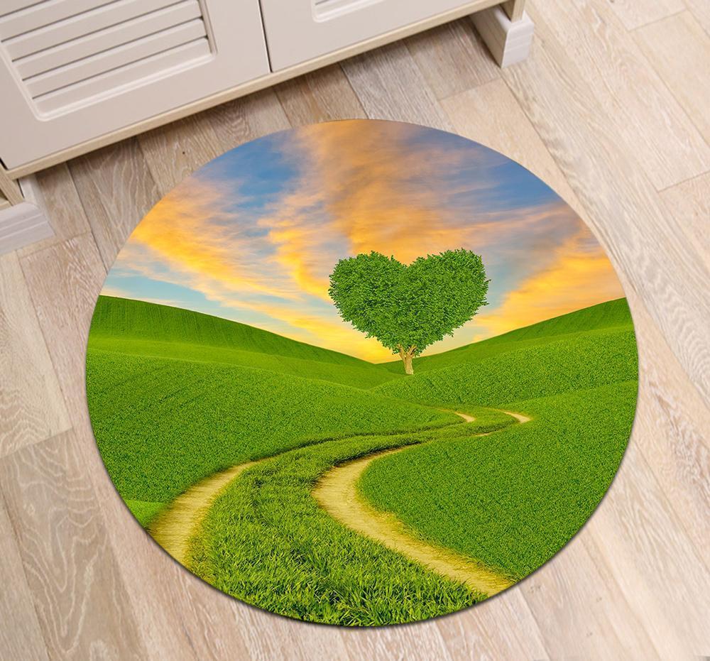 Runder Teppich  <br> Herzbaum