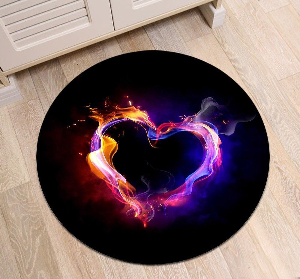 Runder Teppich <br> Herzförmig