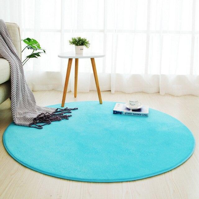 Runder Teppich <br> Himmelblau
