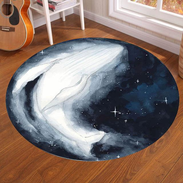 Runder Teppich <br> Himmlischer Wal