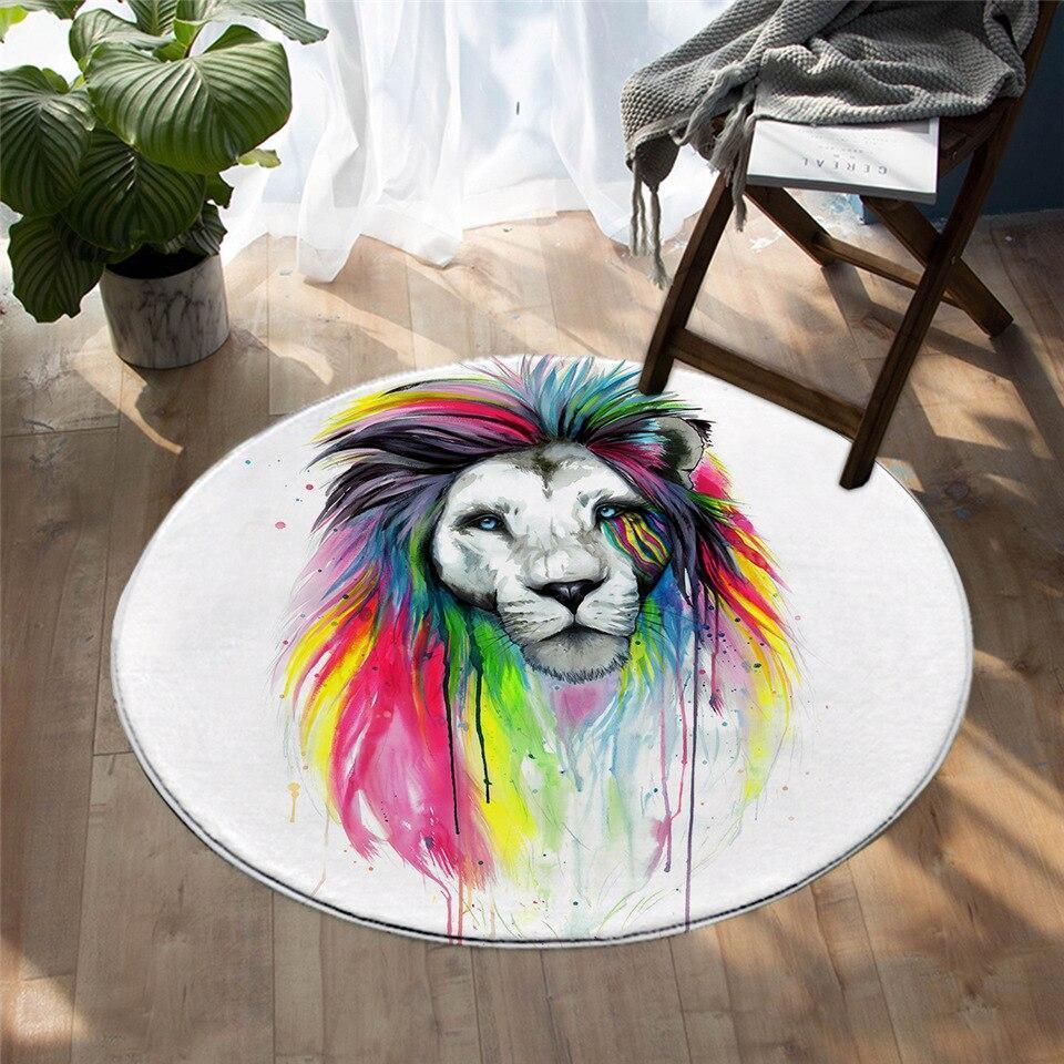 Runder Teppich <br> Hippie-Löwe
