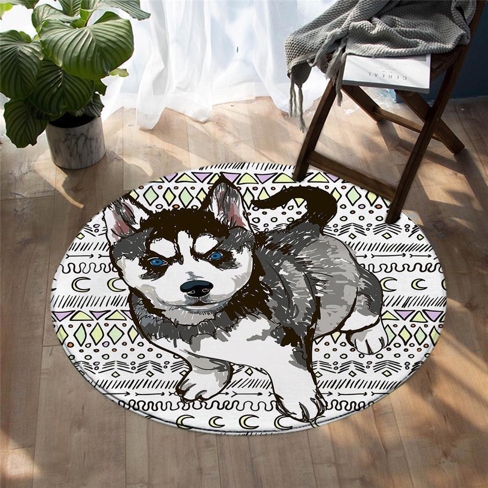 Runder Teppich <br> Hund