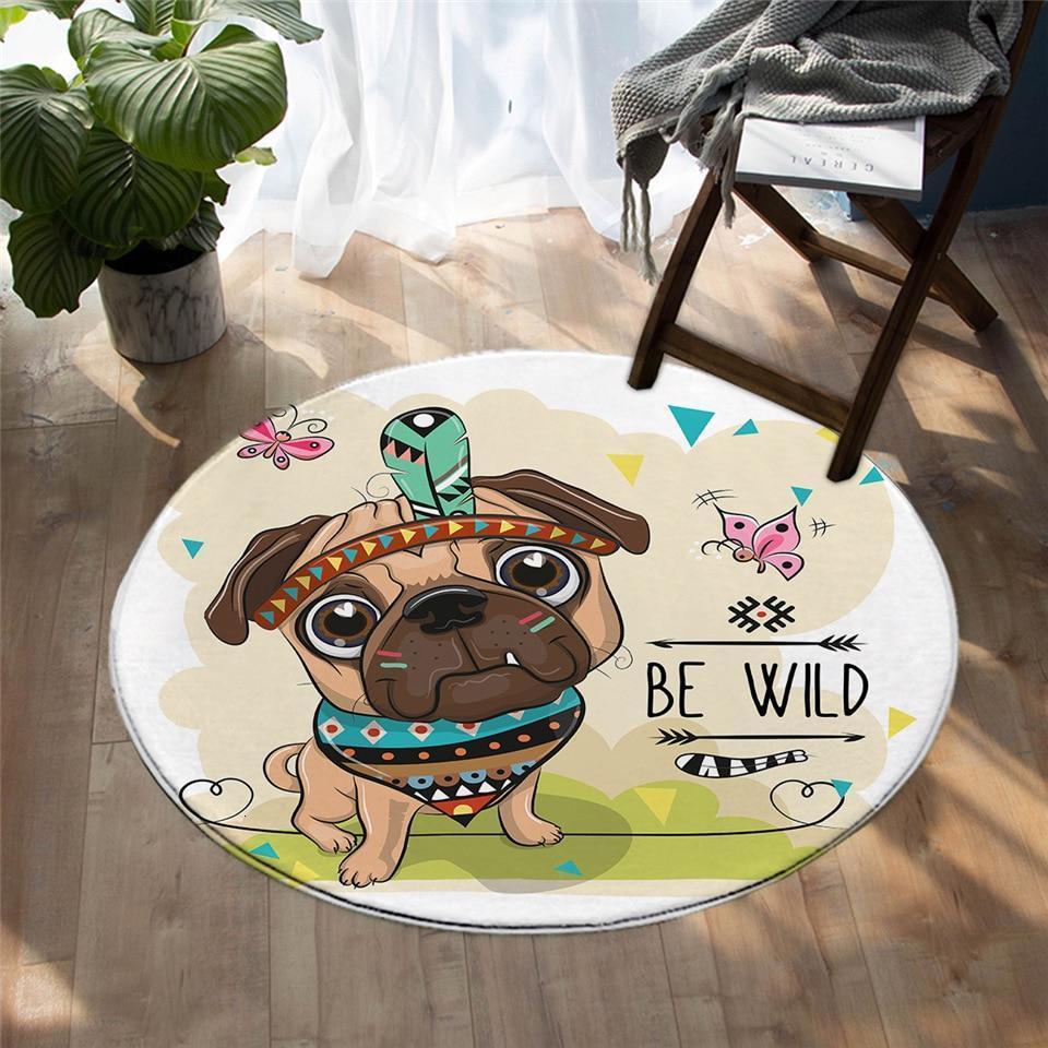 Runder Teppich <br> Hundezeichnung
