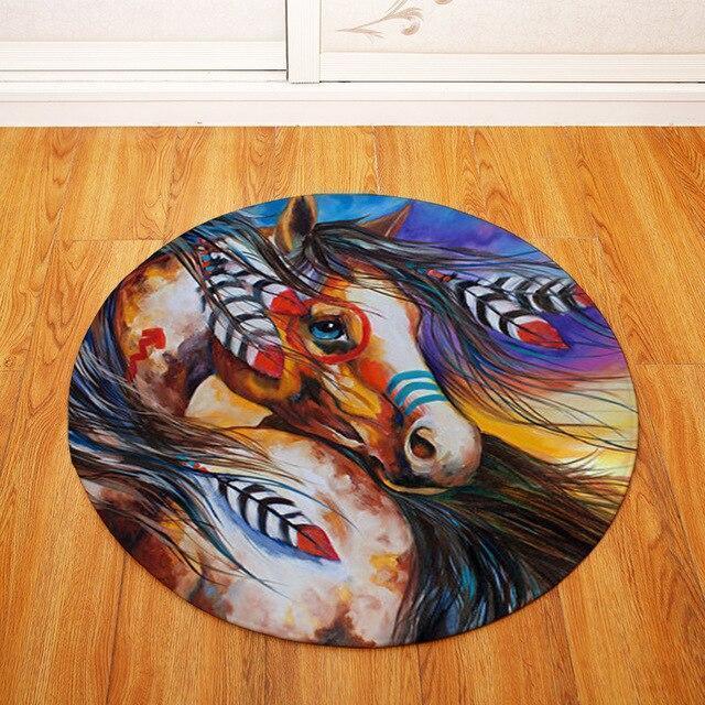 Runder Teppich <br> Indianes Pferd