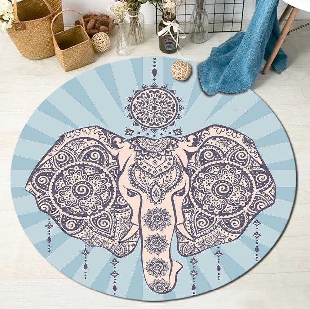 Runder Teppich <br> Indischer Elefant