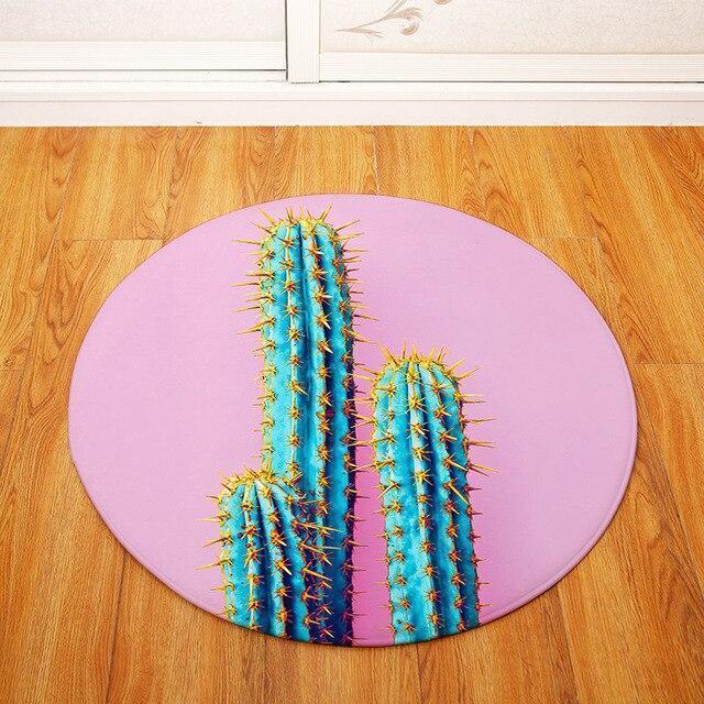 Runder Teppich <br> Kaktus Design