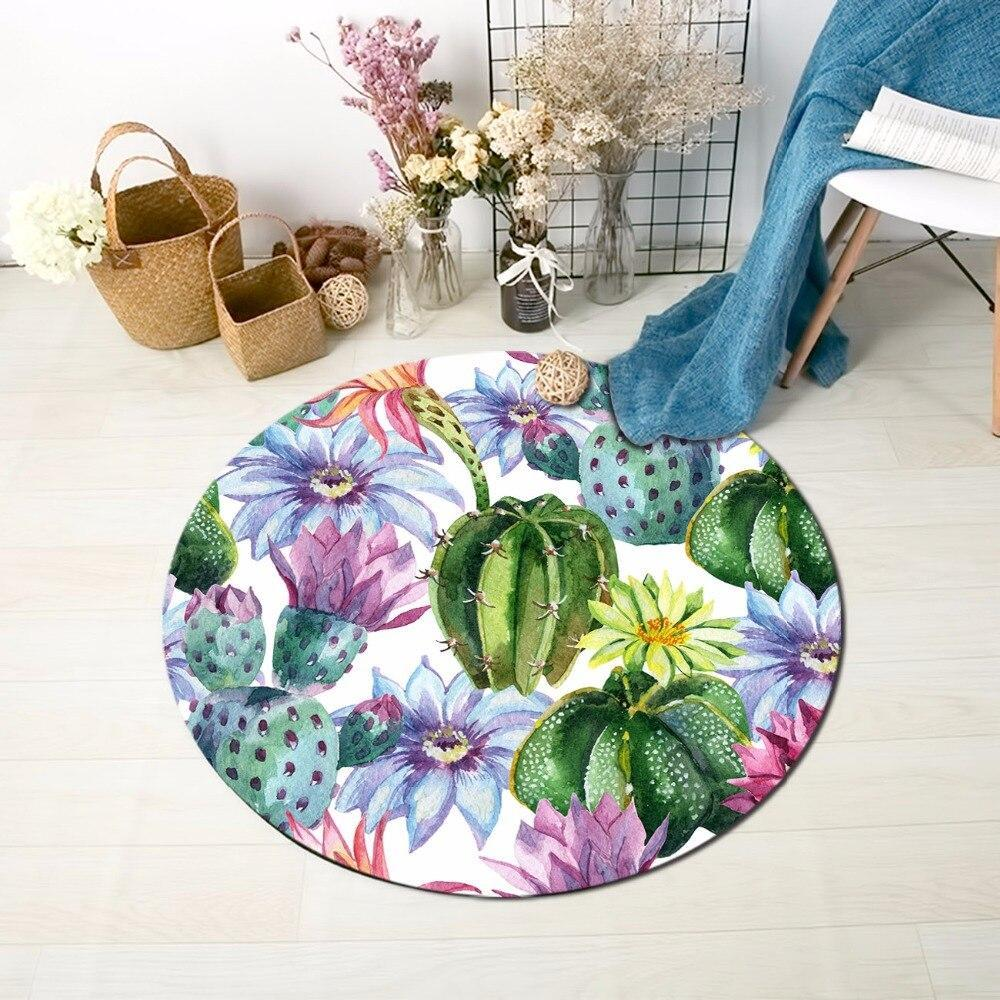 Runder Teppich <br> Kaktus und Blume