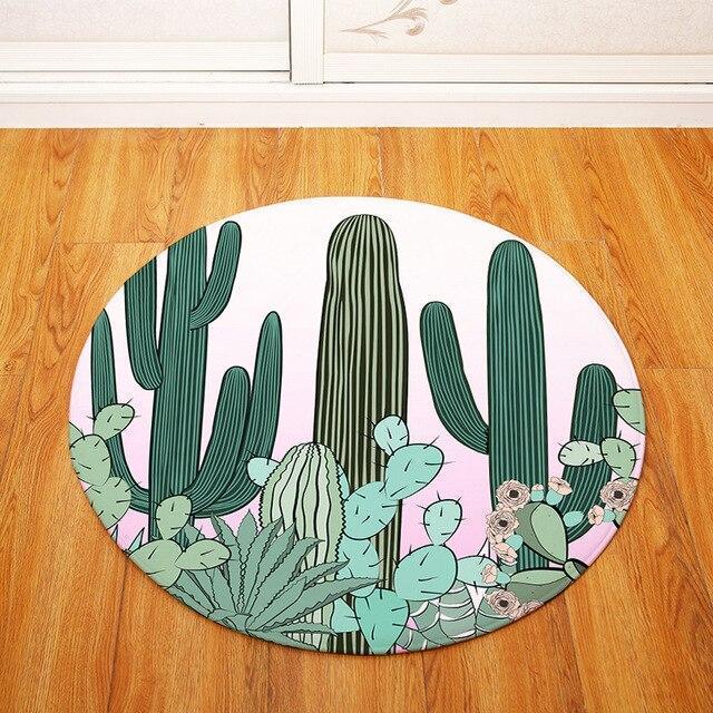 Runder Teppich <br> Kaktus Waschbar