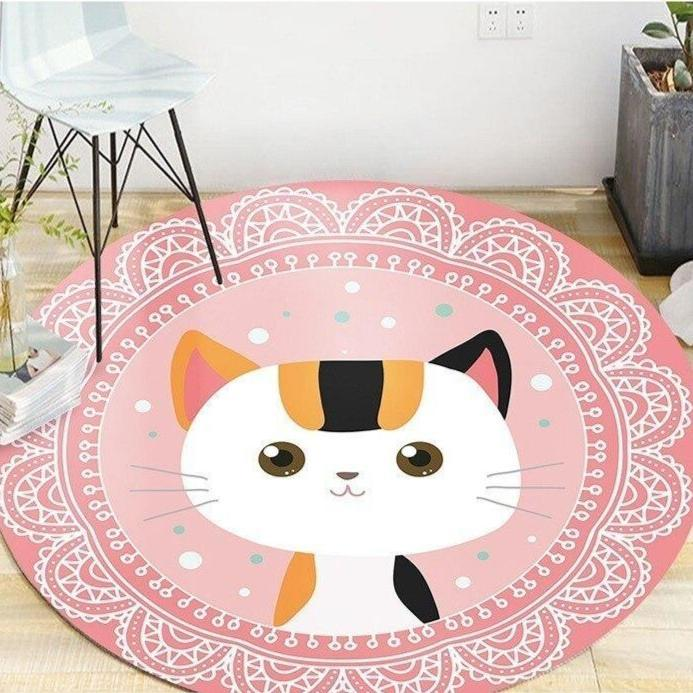 Runder Teppich <br> Katze Muster