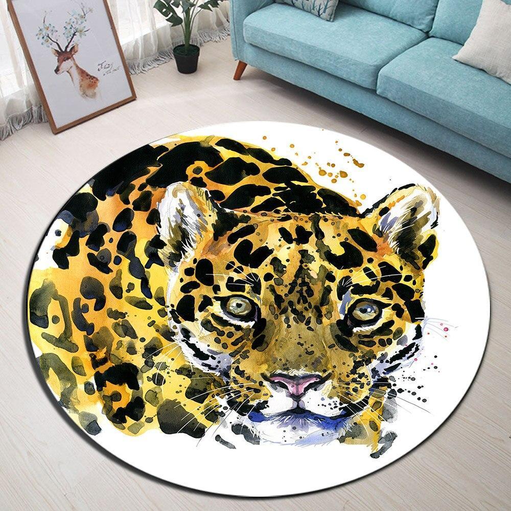 Runder Teppich <br> Leopard