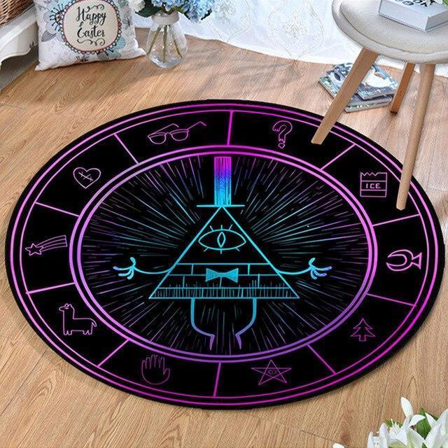 Runder Teppich <br> Leuchtendes Dreieck