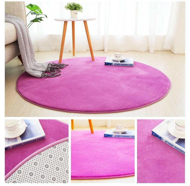 Runder Teppich <br> Lila Weich