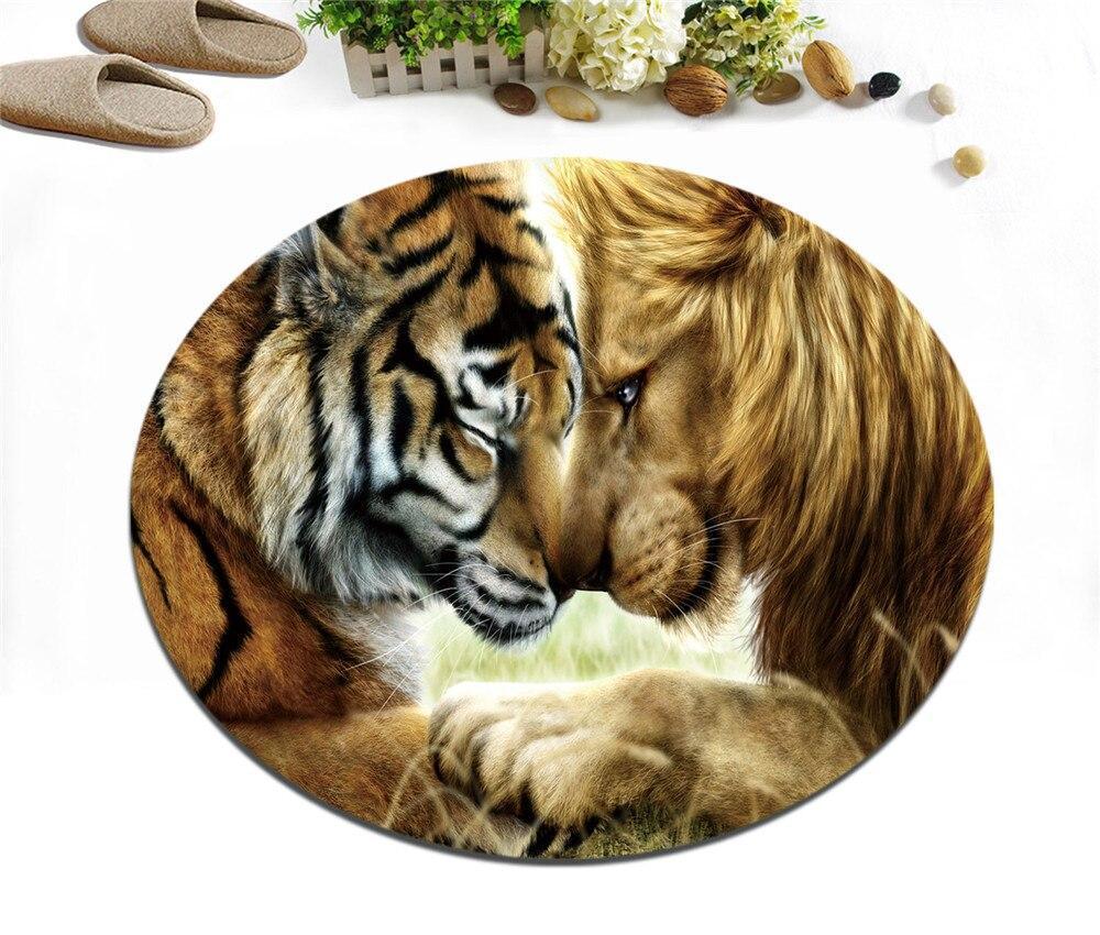 Runder Teppich <br> Löwe und Tiger