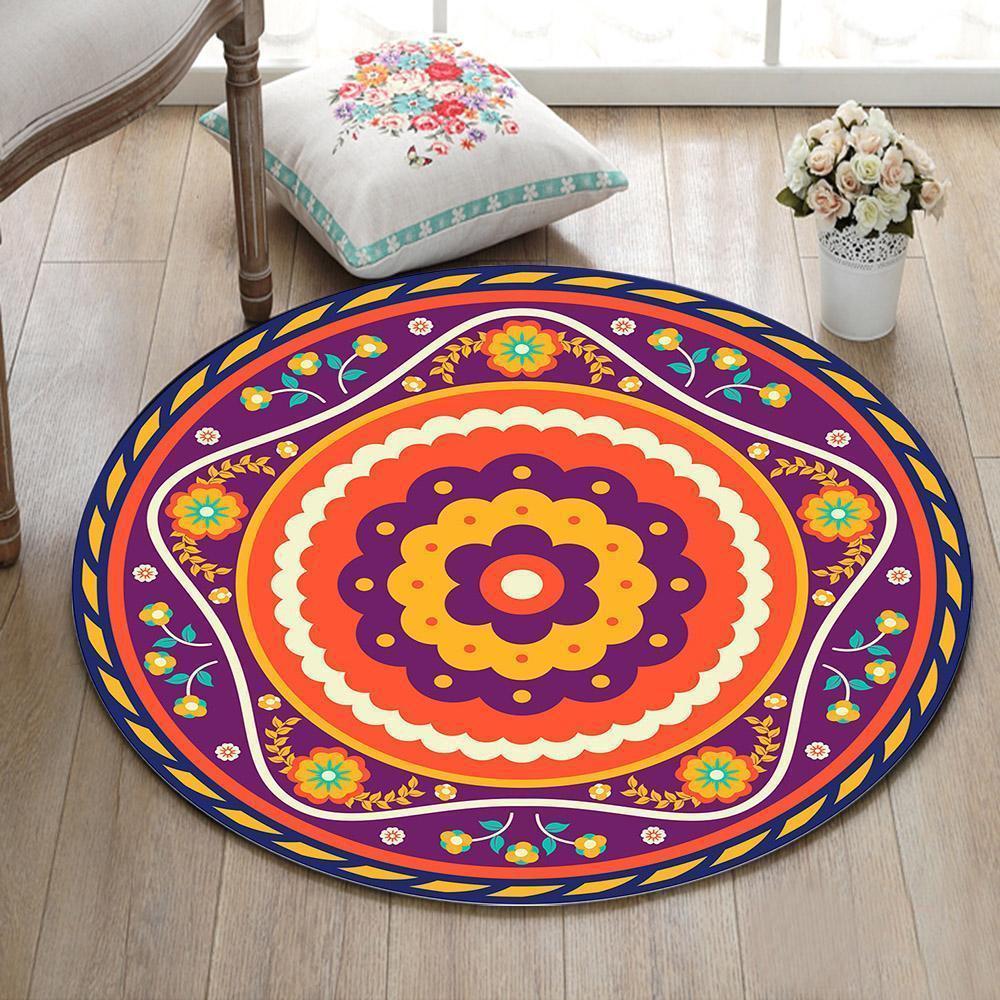 Runder Teppich <br> Mandala mit Blume