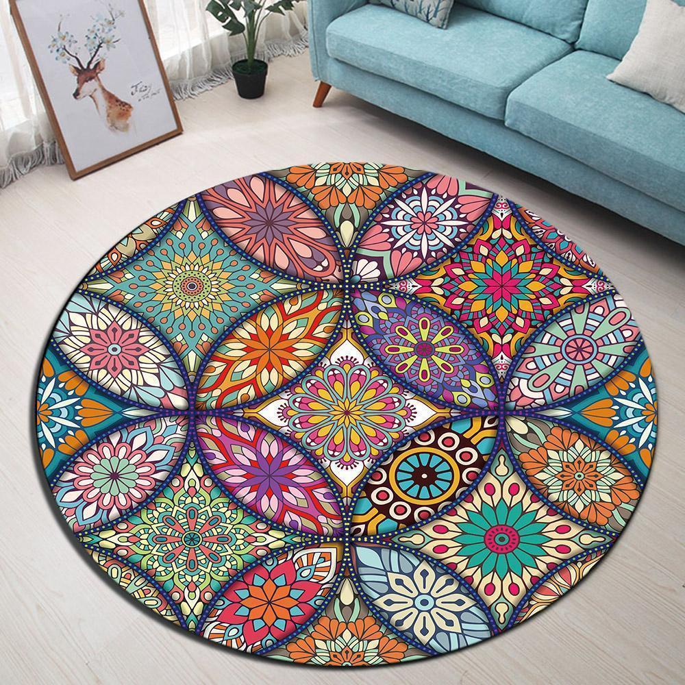 Runder Teppich <br> Mandala Wohnzimmer