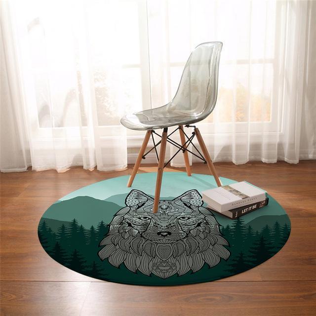 Runder Teppich <br> Mandala Wolf