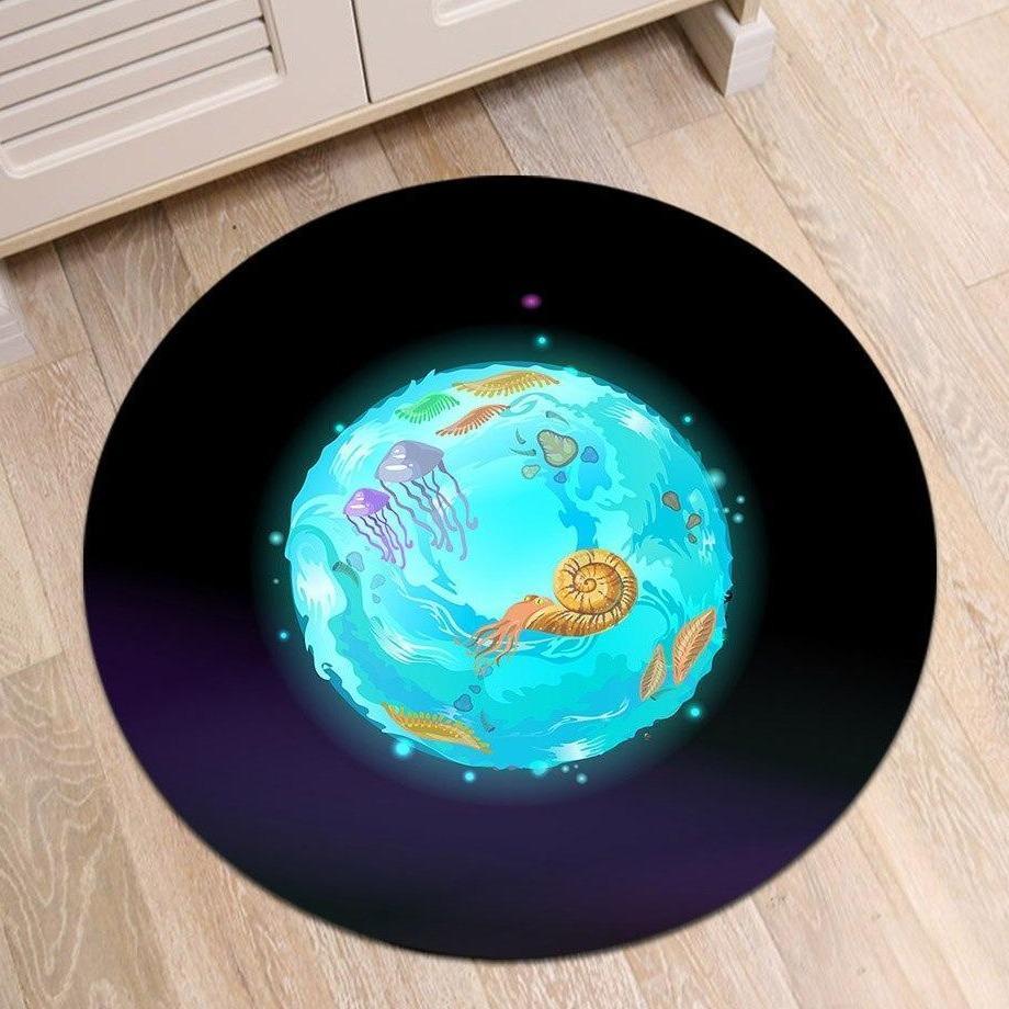 Runder Teppich <br> Meeresplanet