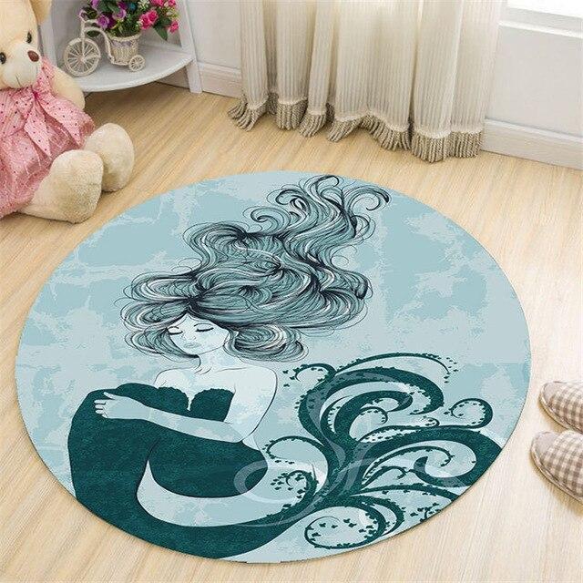 Runder Teppich <br> Meerjungfrau