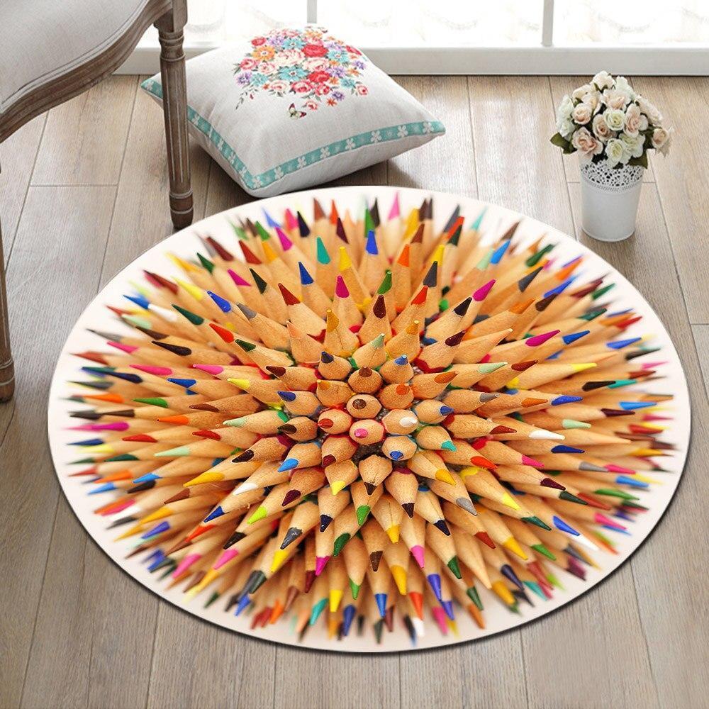 Runder Teppich <br> Mehrfarbige Bleistifte
