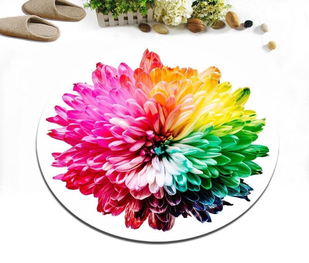 Runder Teppich <br> Mehrfarbige Blume