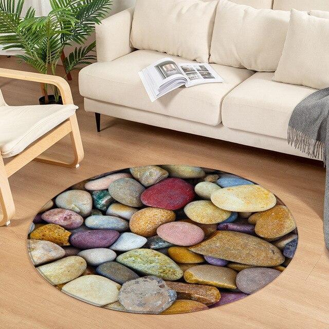 Runder Teppich <br> Mehrfarbige Kieselsteine