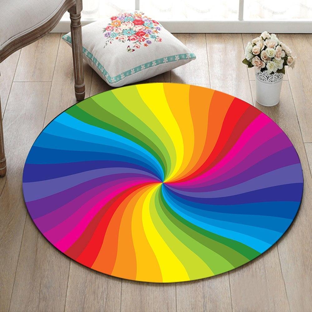 Runder Teppich <br> Mehrfarbige Spirale