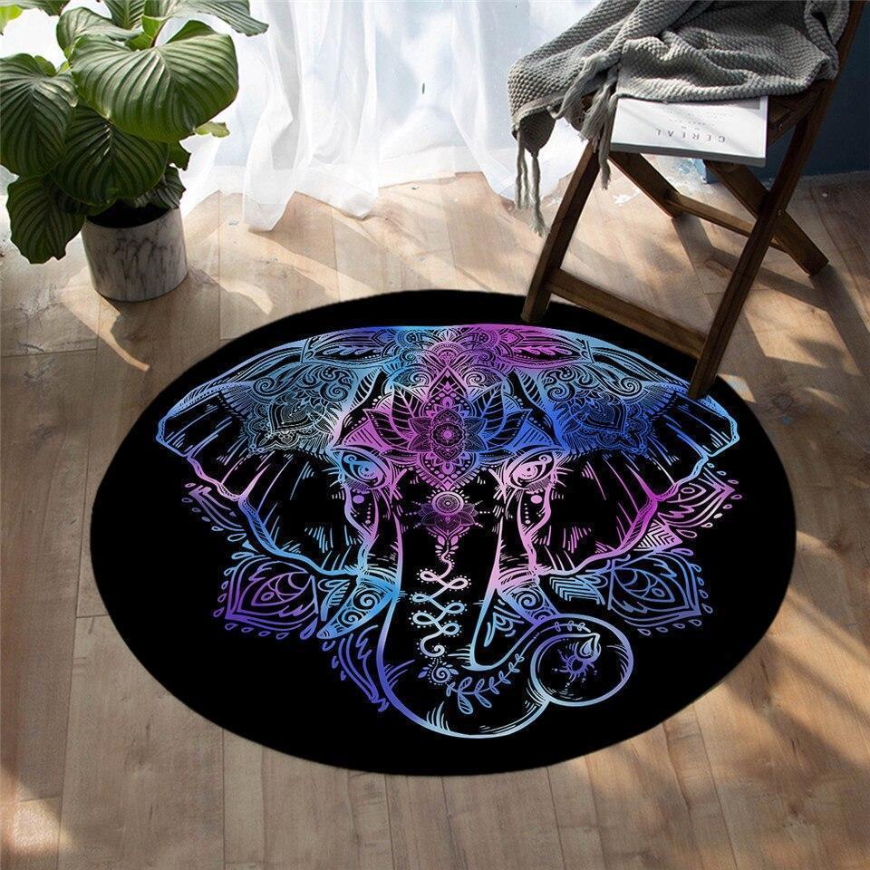 Runder Teppich <br> Mehrfarbiger Elefant