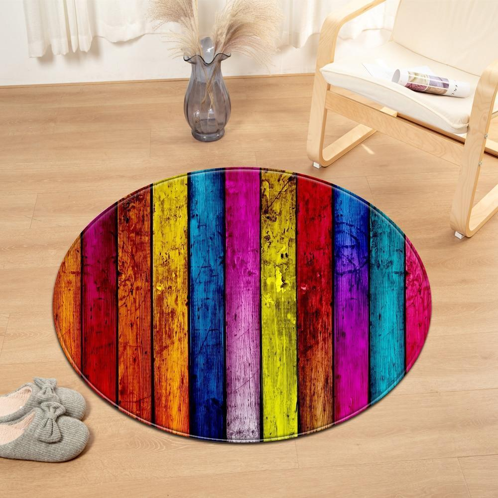 Runder Teppich <br> Mehrfarbiges Holz