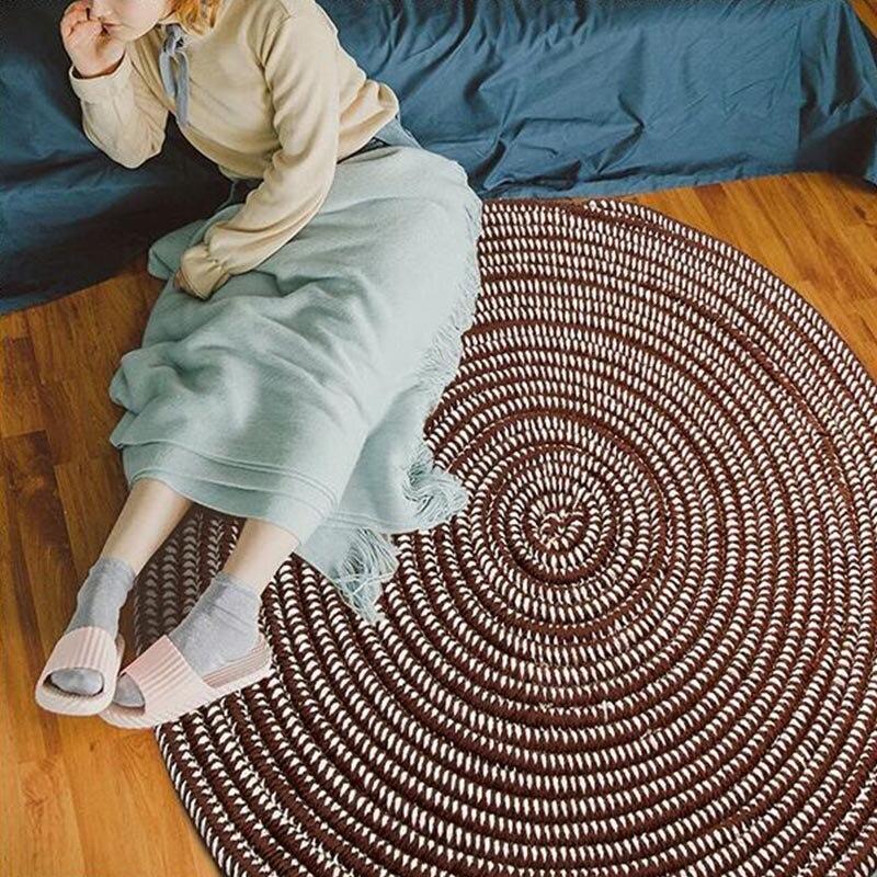 Runder Teppich <br> Natürlich Braun