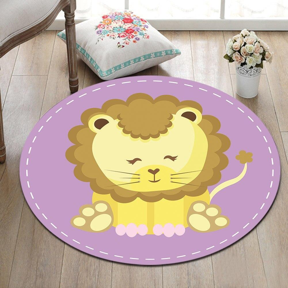 Runder Teppich <br> Niedlicher Löwe