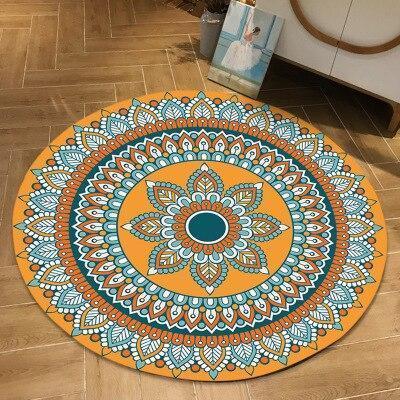 Runder Teppich  <br> Orange Blumen Mandala