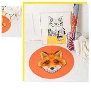 Runder Teppich <br> Orange Fuchs