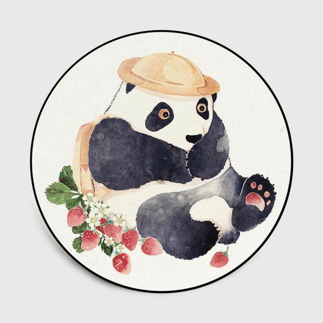 Runder Teppich <br> Panda-Design