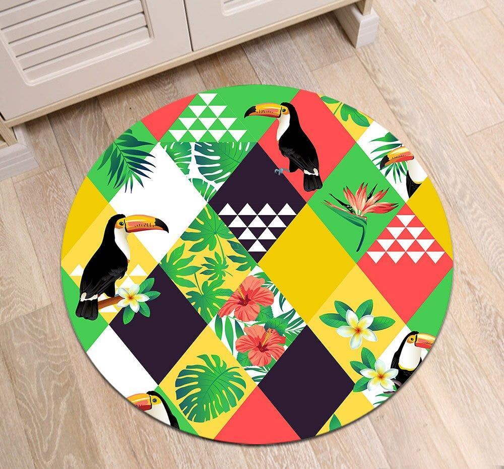 Runder Teppich <br> Papagei