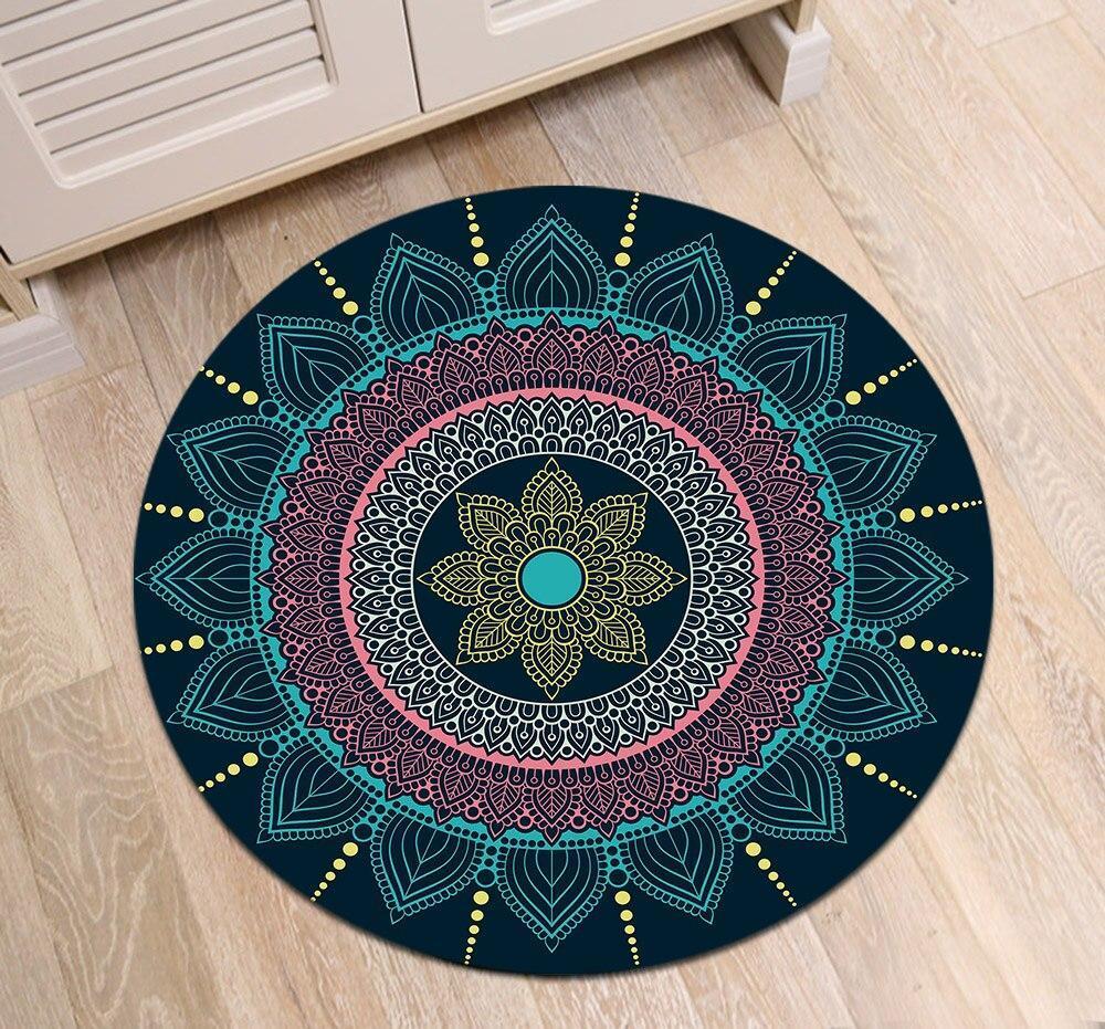 Runder Teppich <br> Pfauenblau