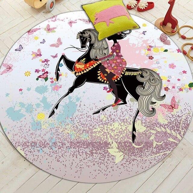 Runder Teppich <br> Pferd Mädchen