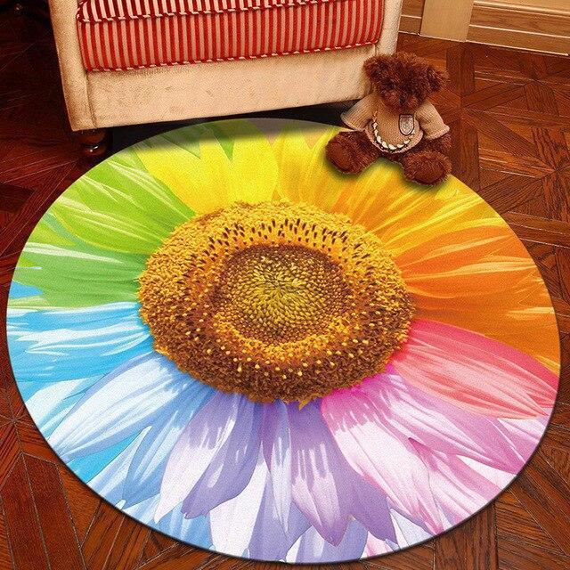 Runder Teppich <br> Regenbogenblume