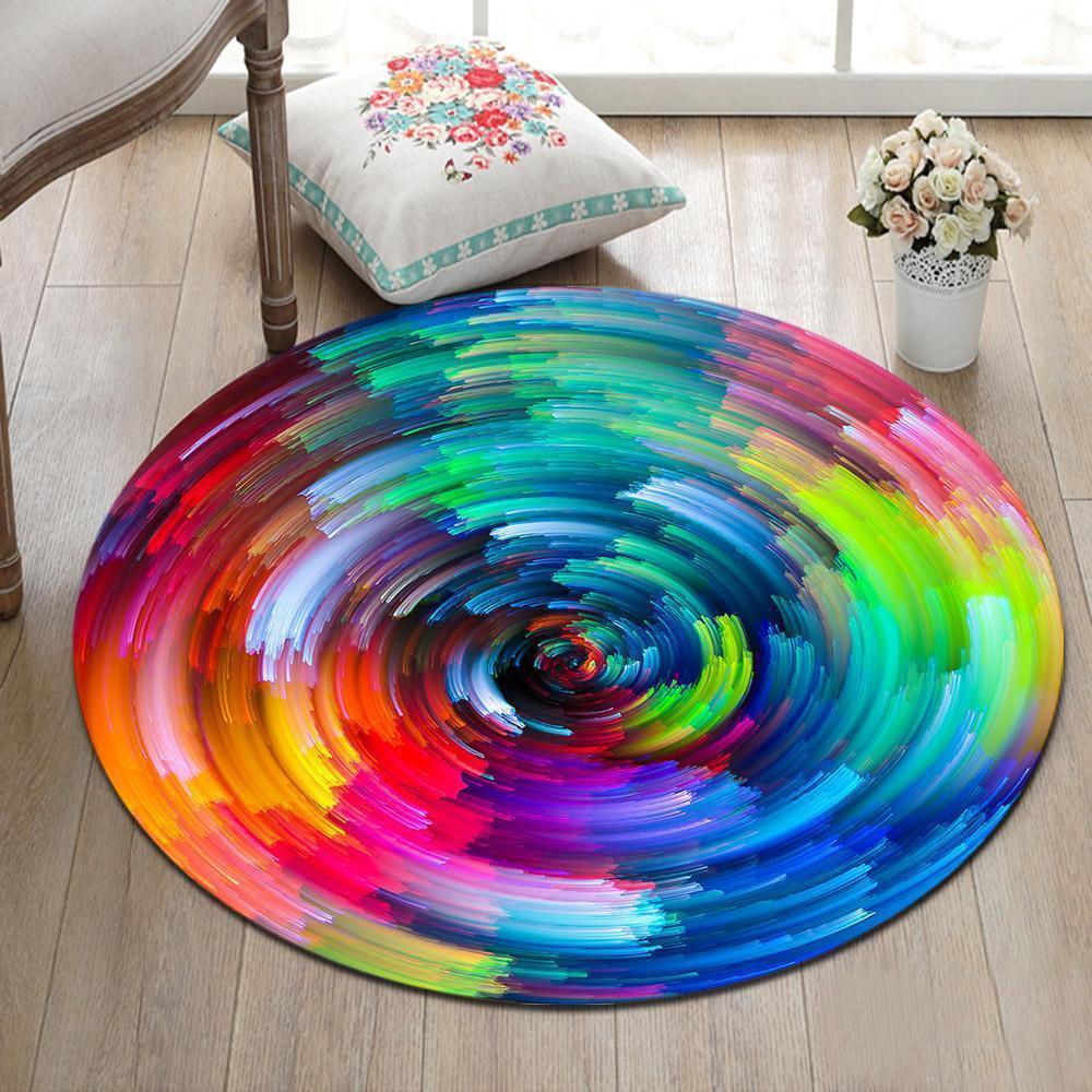 Runder Teppich <br> Regenbogenfarbe