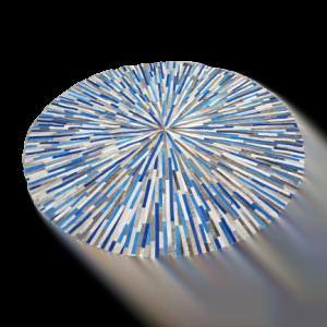 Runder Teppich <br> Rindsleder Kalte Farbe